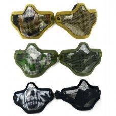 Half Face Metal Mesh Mask - Black, OD Green, tan, skull, camo